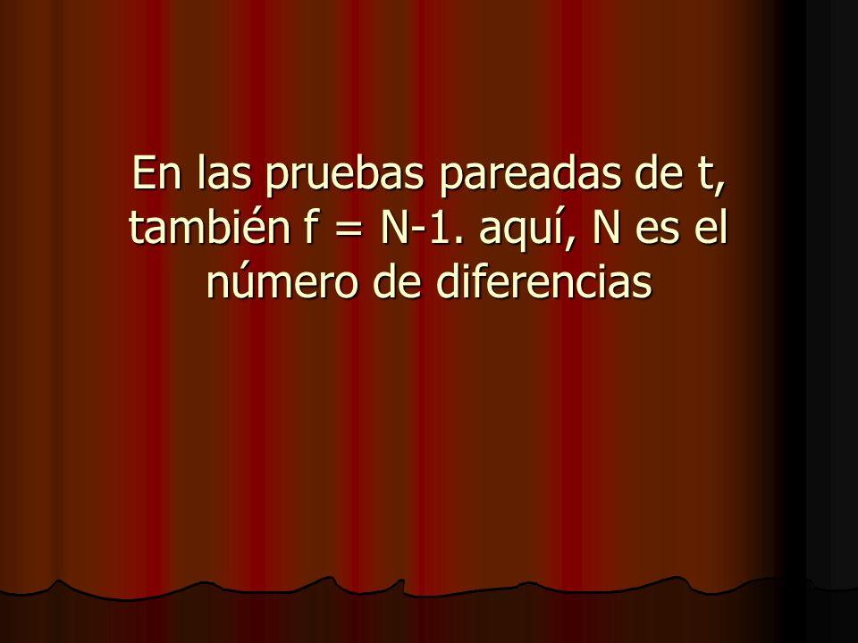 En las pruebas pareadas de t, también f = N-1