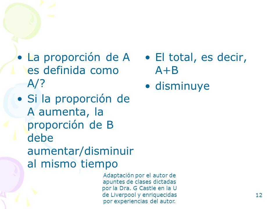 La proporción de A es definida como A/