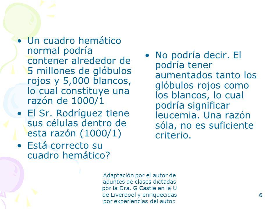El Sr. Rodríguez tiene sus células dentro de esta razón (1000/1)