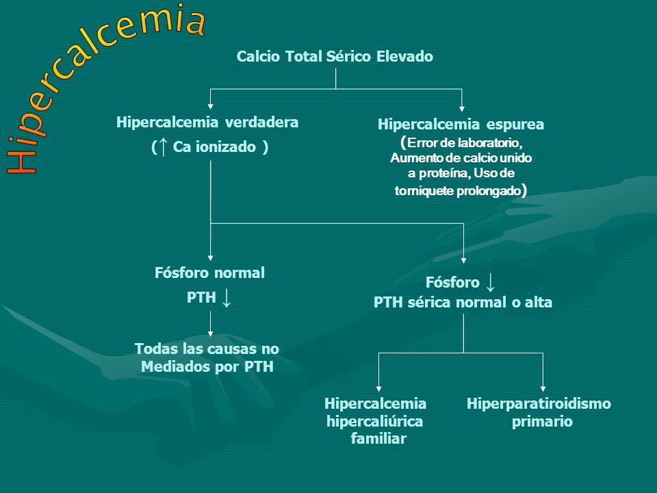 Hipercalcemia Calcio Total Sérico Elevado Hipercalcemia verdadera