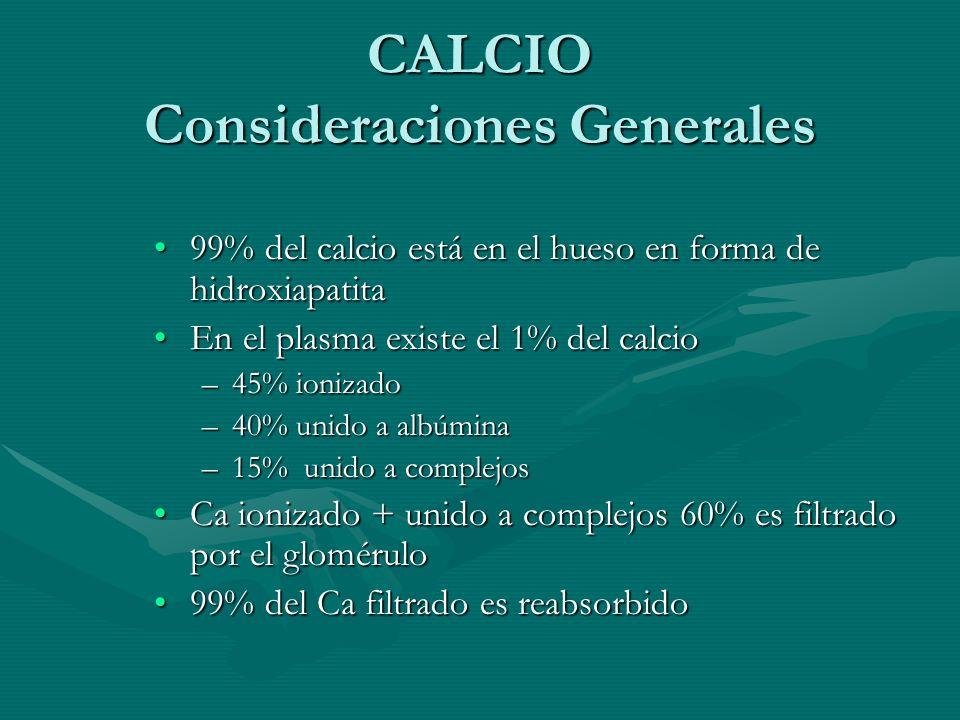 CALCIO Consideraciones Generales