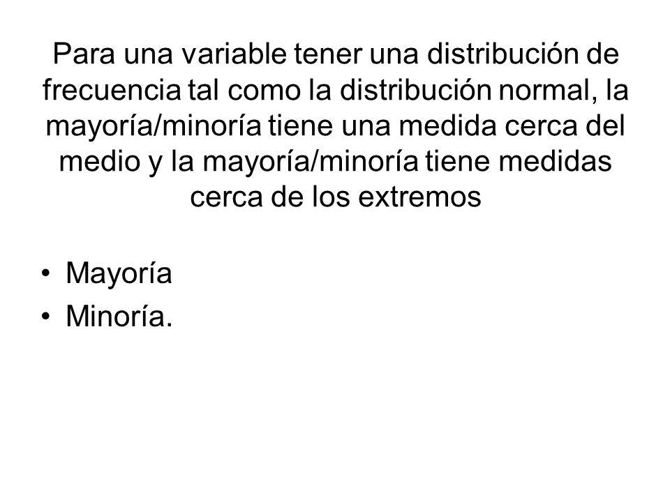 Para una variable tener una distribución de frecuencia tal como la distribución normal, la mayoría/minoría tiene una medida cerca del medio y la mayoría/minoría tiene medidas cerca de los extremos
