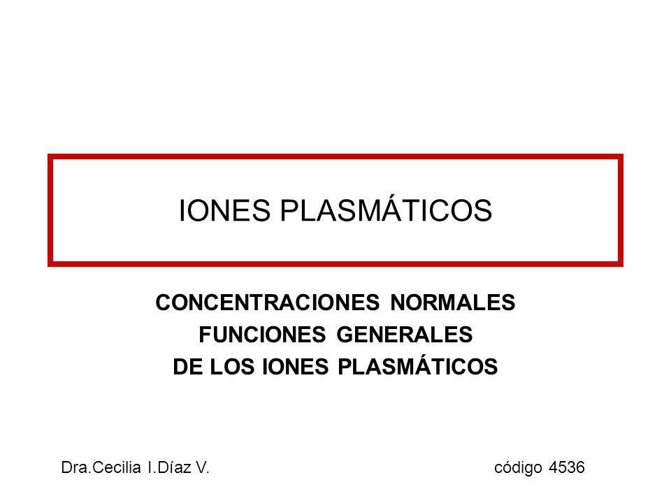 CONCENTRACIONES NORMALES FUNCIONES GENERALES DE LOS IONES PLASMÁTICOS