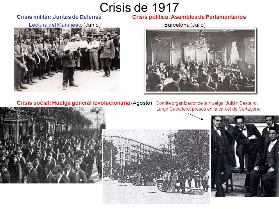 Crisis de 1917 Crisis militar: Juntas de Defensa Crisis política: Asamblea de Parlamentarios.