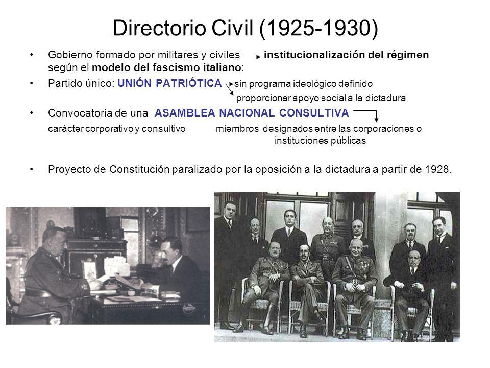 Directorio Civil (1925-1930) Gobierno formado por militares y civiles institucionalización del régimen según el modelo del fascismo italiano: