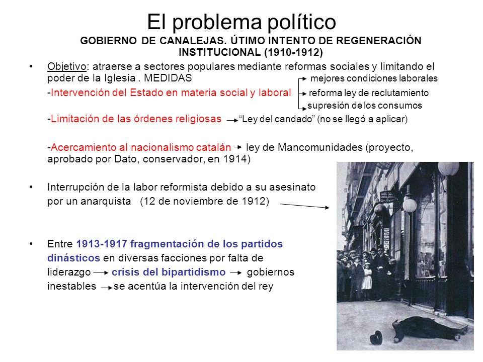 El problema políticoGOBIERNO DE CANALEJAS. ÚTIMO INTENTO DE REGENERACIÓN INSTITUCIONAL (1910-1912)