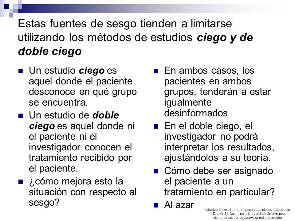 Estas fuentes de sesgo tienden a limitarse utilizando los métodos de estudios ciego y de doble ciego