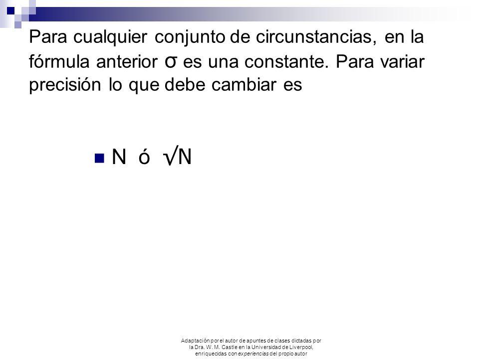 Para cualquier conjunto de circunstancias, en la fórmula anterior σ es una constante. Para variar precisión lo que debe cambiar es