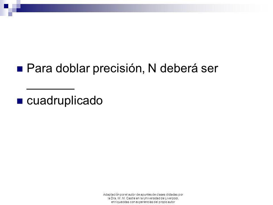 Para doblar precisión, N deberá ser _______ cuadruplicado