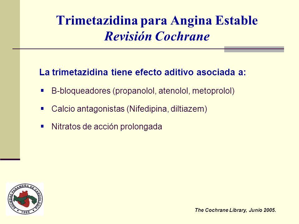 Trimetazidina para Angina Estable Revisión Cochrane