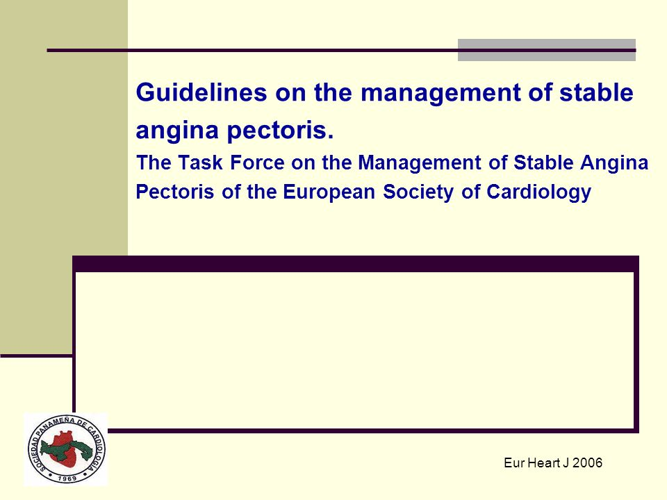 Guidelines on the management of stable angina pectoris