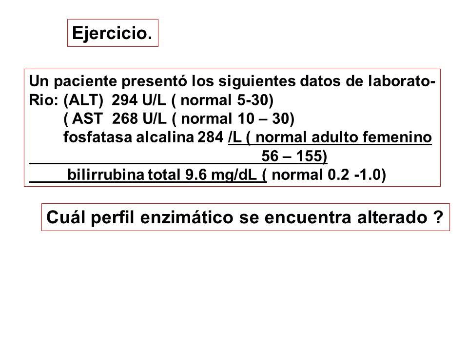 Cuál perfil enzimático se encuentra alterado