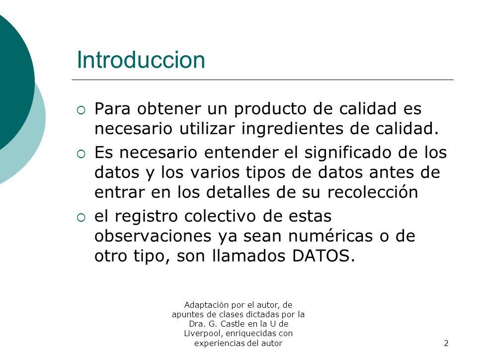 Introduccion Para obtener un producto de calidad es necesario utilizar ingredientes de calidad.