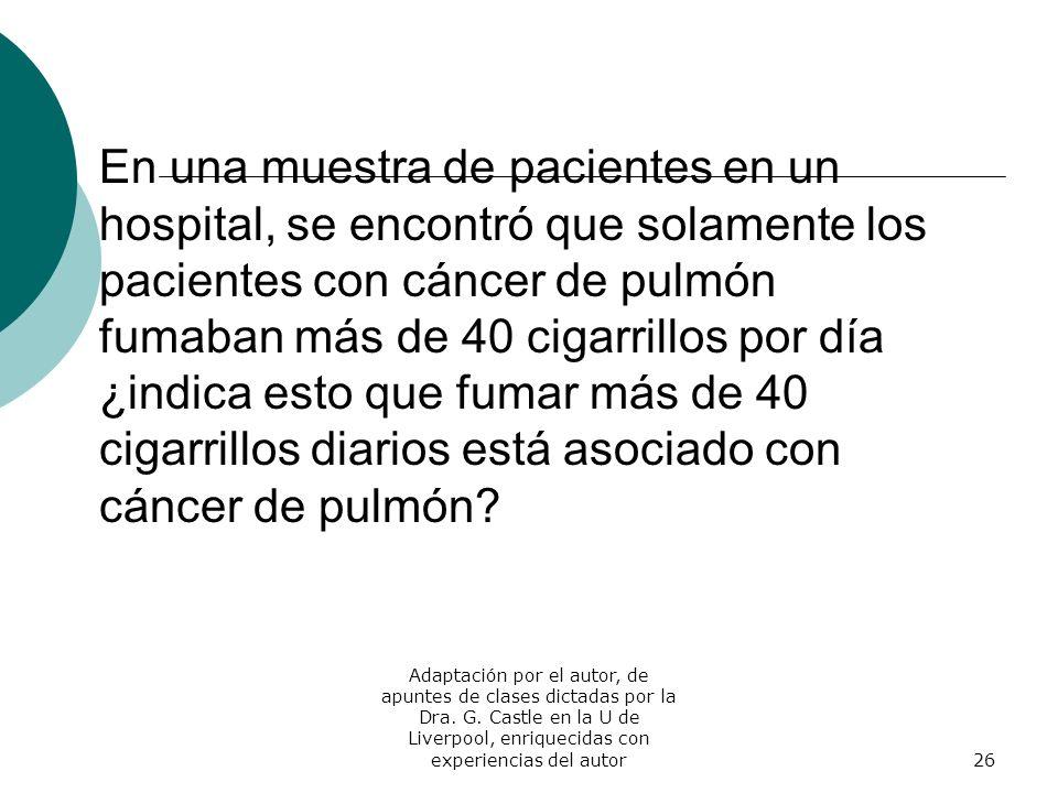 En una muestra de pacientes en un hospital, se encontró que solamente los pacientes con cáncer de pulmón fumaban más de 40 cigarrillos por día ¿indica esto que fumar más de 40 cigarrillos diarios está asociado con cáncer de pulmón