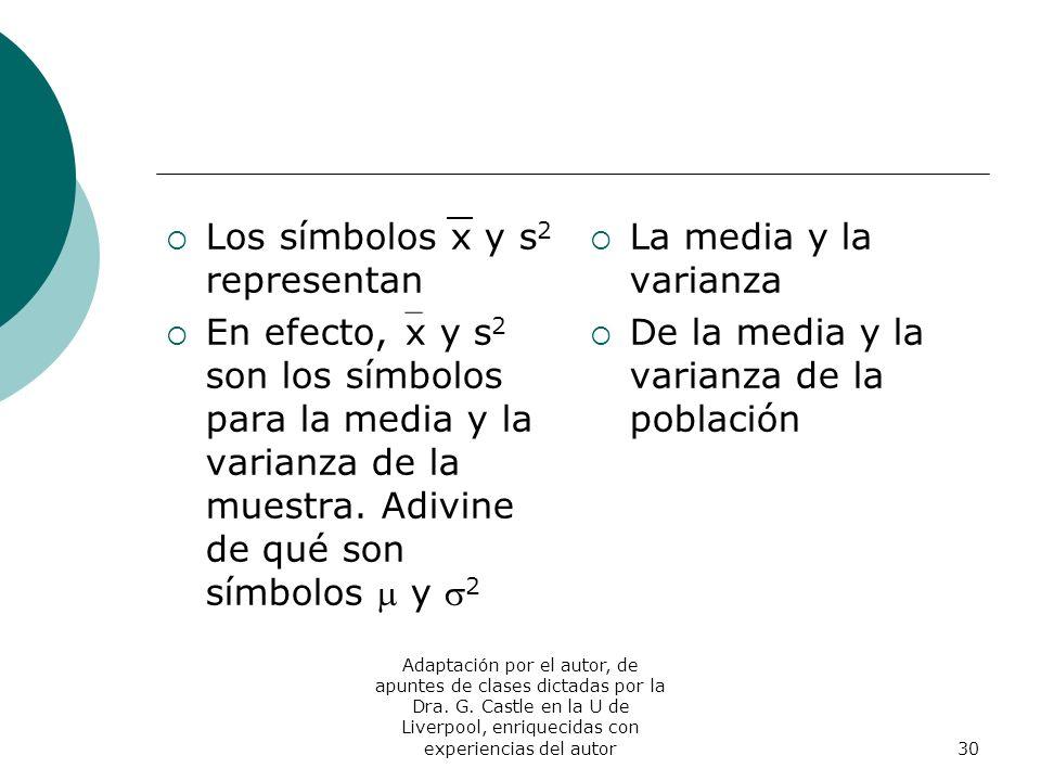 Los símbolos x y s2 representan