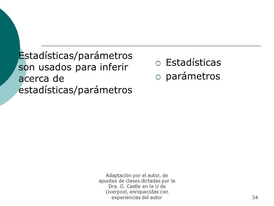 Estadísticas/parámetros son usados para inferir acerca de estadísticas/parámetros