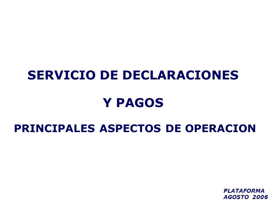SERVICIO DE DECLARACIONES PRINCIPALES ASPECTOS DE OPERACION