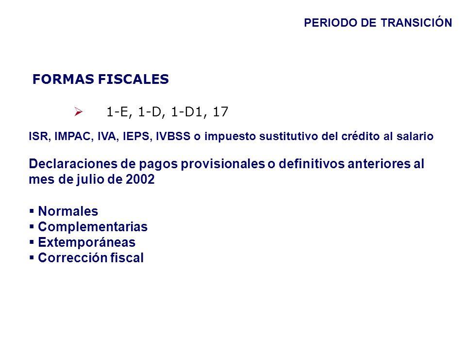 FORMAS FISCALES 1-E, 1-D, 1-D1, 17