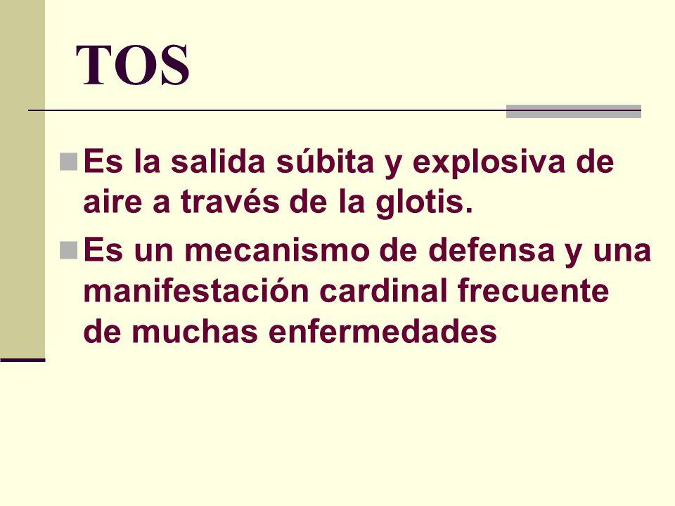 TOS Es la salida súbita y explosiva de aire a través de la glotis.