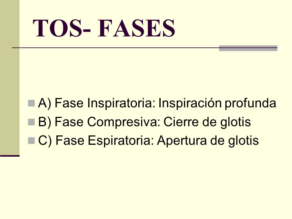 TOS- FASES A) Fase Inspiratoria: Inspiración profunda
