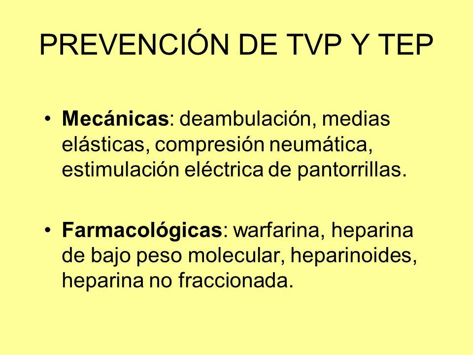 PREVENCIÓN DE TVP Y TEP Mecánicas: deambulación, medias elásticas, compresión neumática, estimulación eléctrica de pantorrillas.