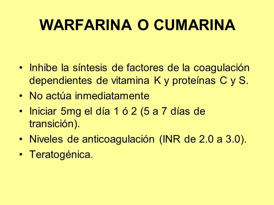 WARFARINA O CUMARINA Inhibe la síntesis de factores de la coagulación dependientes de vitamina K y proteínas C y S.