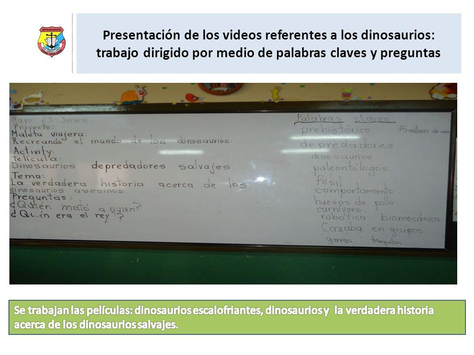 Presentación de los videos referentes a los dinosaurios: trabajo dirigido por medio de palabras claves y preguntas