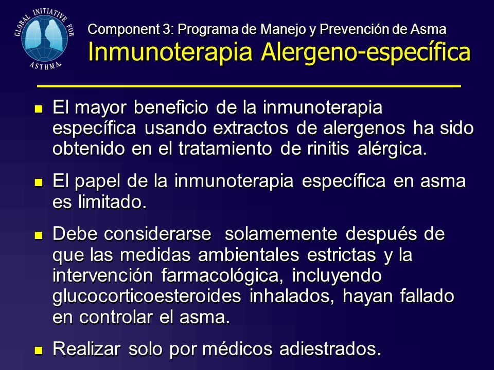 El papel de la inmunoterapia específica en asma es limitado.