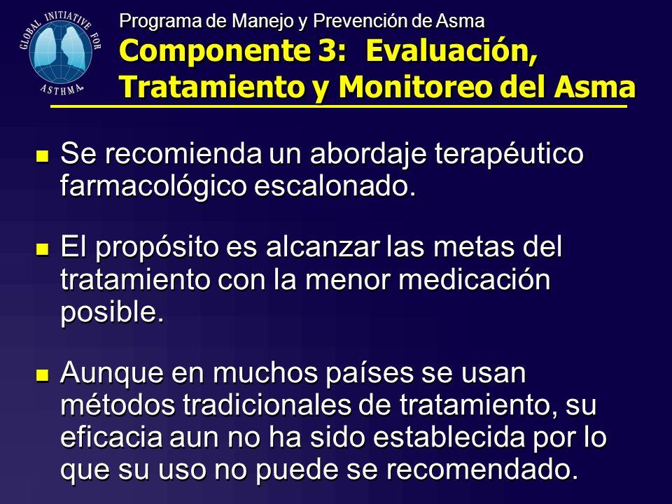 Se recomienda un abordaje terapéutico farmacológico escalonado.