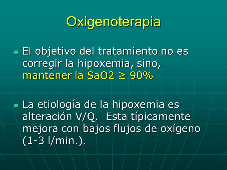Oxigenoterapia El objetivo del tratamiento no es corregir la hipoxemia, sino, mantener la SaO2 ≥ 90%