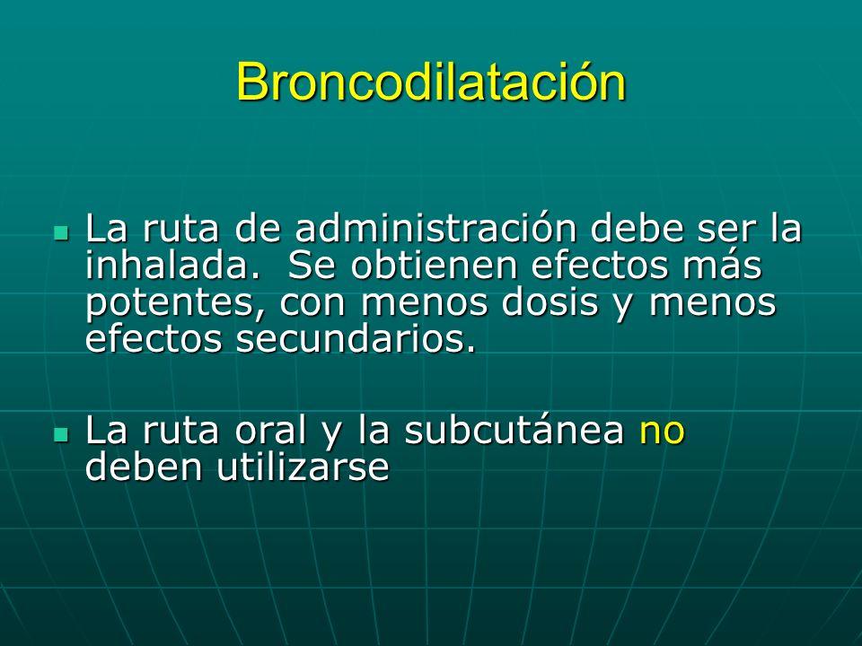 Broncodilatación La ruta de administración debe ser la inhalada. Se obtienen efectos más potentes, con menos dosis y menos efectos secundarios.