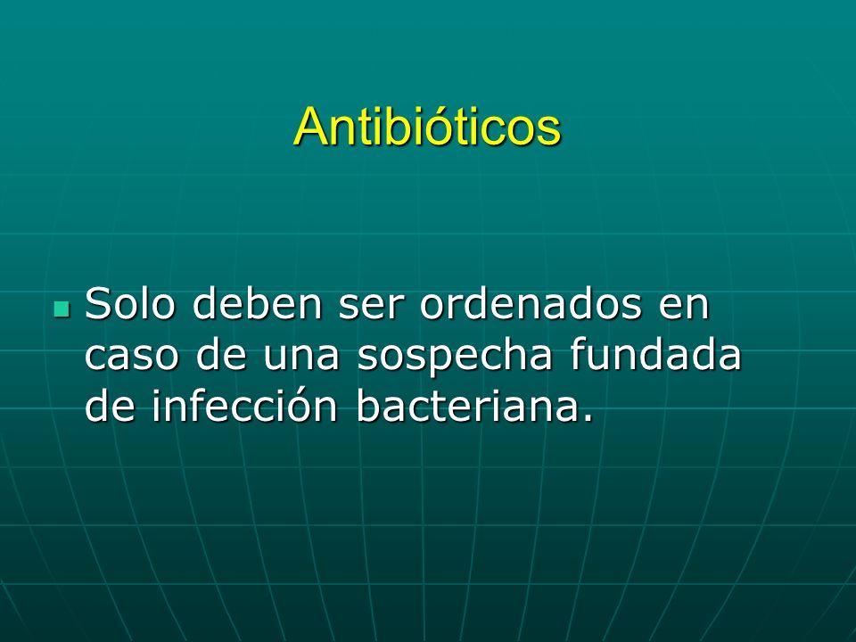 Antibióticos Solo deben ser ordenados en caso de una sospecha fundada de infección bacteriana.