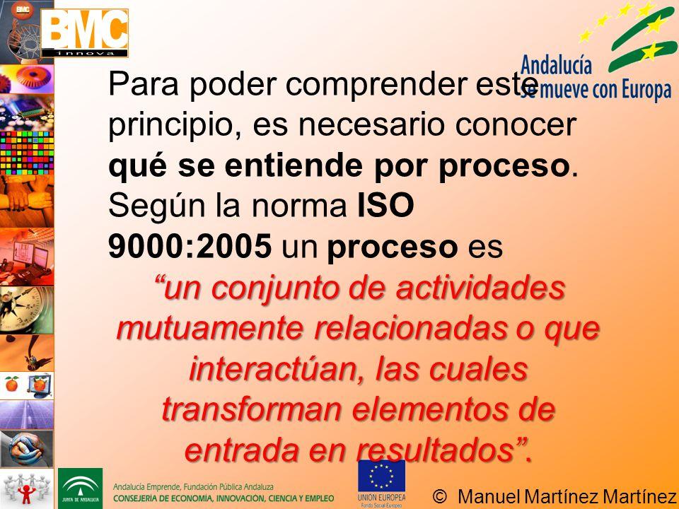 Para poder comprender este principio, es necesario conocer qué se entiende por proceso. Según la norma ISO 9000:2005 un proceso es