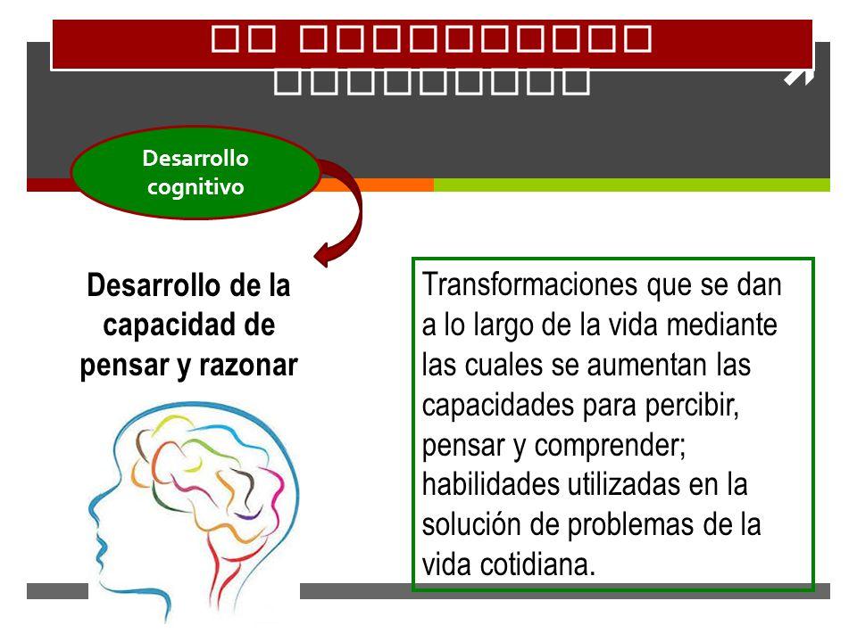 El desarrollo cognitivo Desarrollo de la capacidad de pensar y razonar