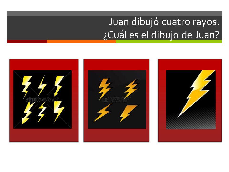 Juan dibujó cuatro rayos. ¿Cuál es el dibujo de Juan