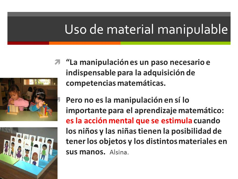 Uso de material manipulable
