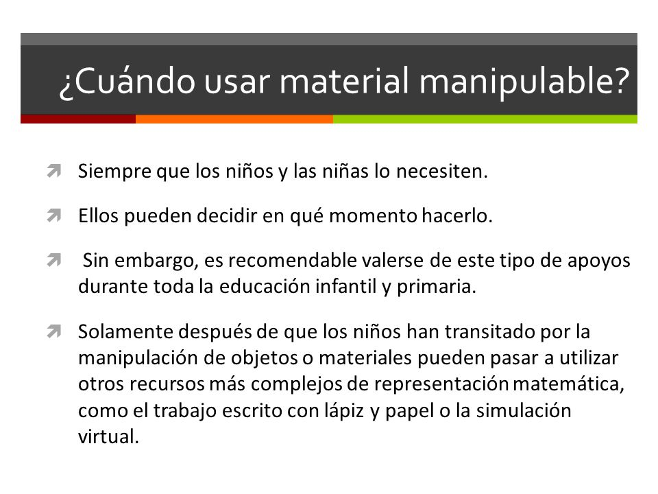 ¿Cuándo usar material manipulable