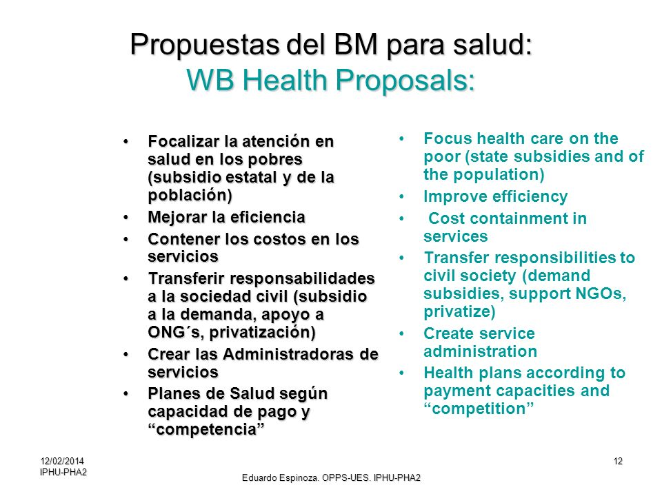 Propuestas del BM para salud: WB Health Proposals: