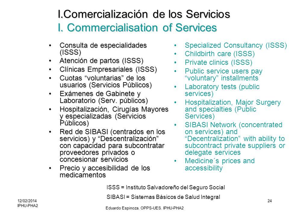 I.Comercialización de los Servicios I. Commercialisation of Services