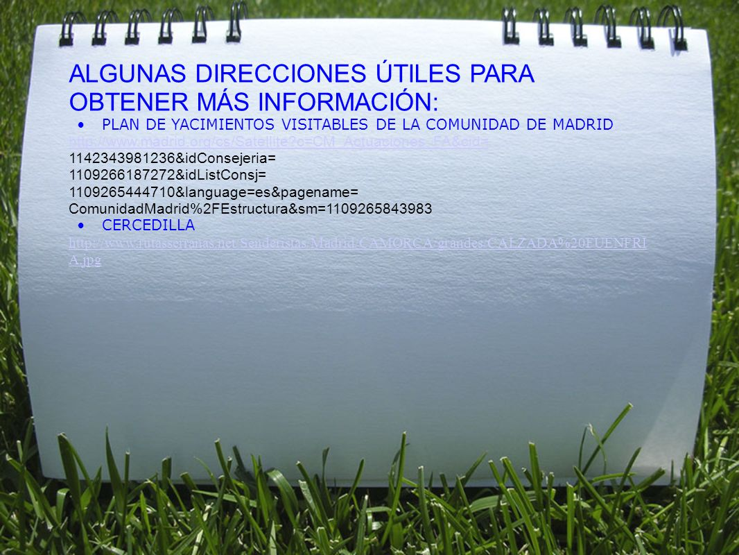 ALGUNAS DIRECCIONES ÚTILES PARA OBTENER MÁS INFORMACIÓN: