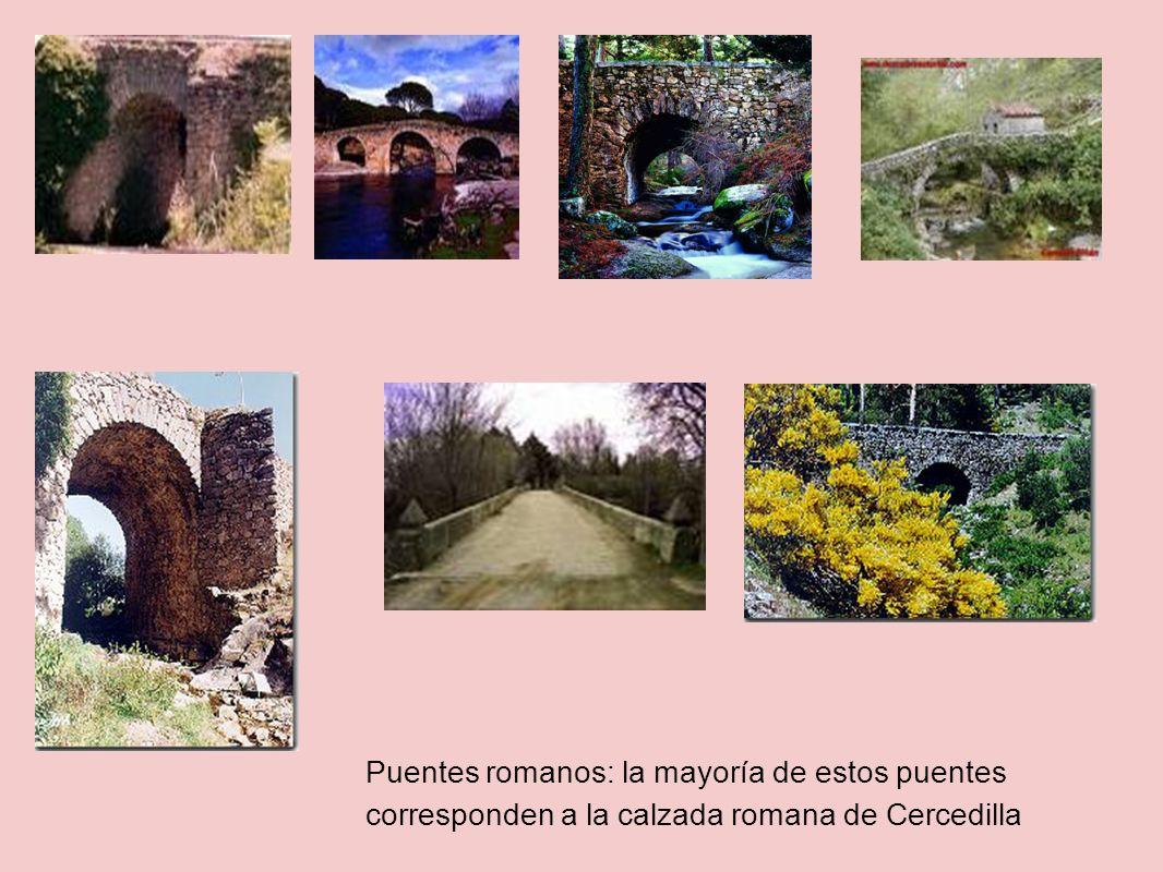 Puentes romanos: la mayoría de estos puentes corresponden a la calzada romana de Cercedilla