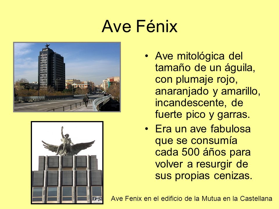 Ave Fénix Ave mitológica del tamaño de un águila, con plumaje rojo, anaranjado y amarillo, incandescente, de fuerte pico y garras.