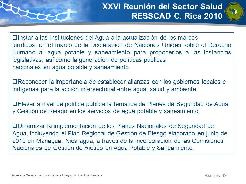 XXVI Reunión del Sector Salud RESSCAD C. Rica 2010