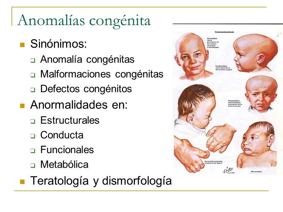 Anomalías congénita Sinónimos: Anormalidades en: