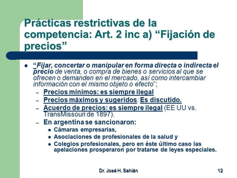 Prácticas restrictivas de la competencia: Art