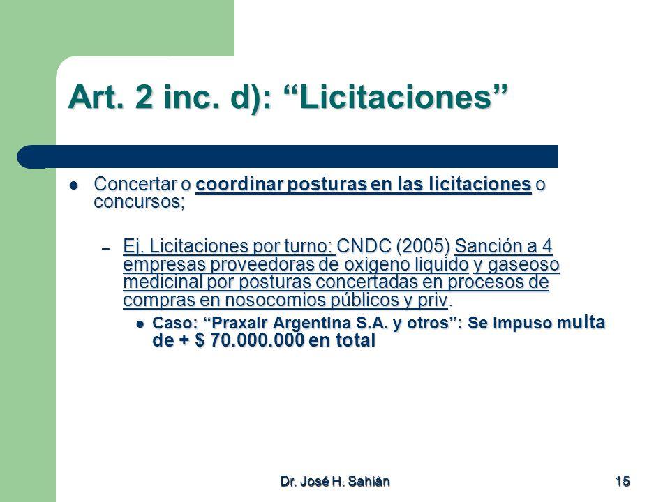 Art. 2 inc. d): Licitaciones