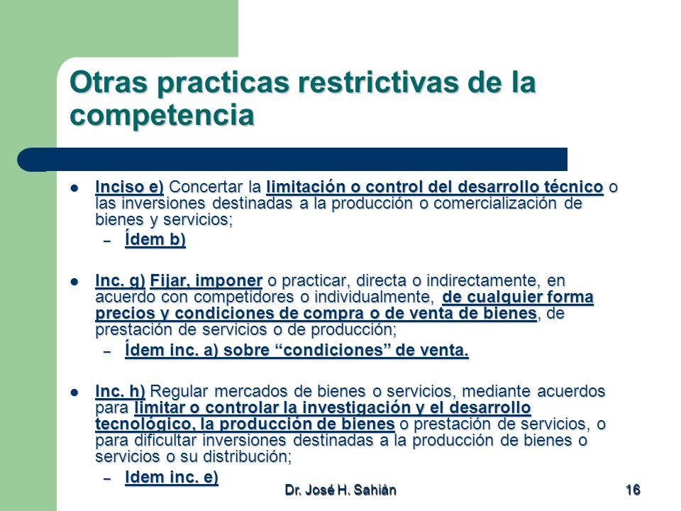Otras practicas restrictivas de la competencia
