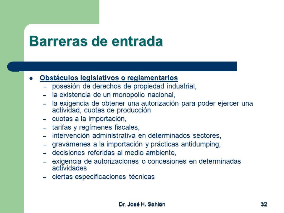 Barreras de entrada Obstáculos legislativos o reglamentarios