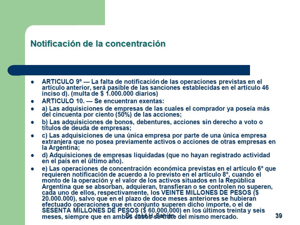 Notificación de la concentración