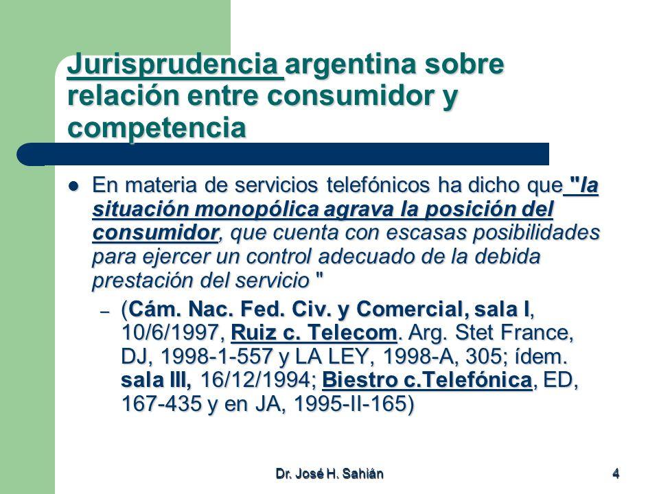 Jurisprudencia argentina sobre relación entre consumidor y competencia